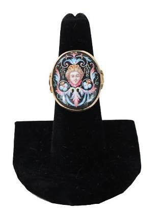 Vintage Hand Painted Porcelain and Gold Ring
