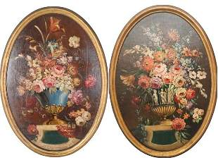 Pair of Oval Still Life Paintings, Oil on Canvas