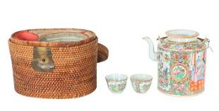 Antique Chinese Picnic Basket, Teapot & Cups