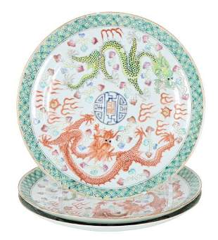 (3) Antique Chinese 5-Claw Dragon Plates