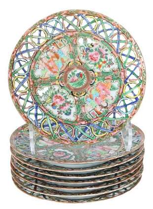 (8) Chinese Rose Medallion Reticulated Dishes
