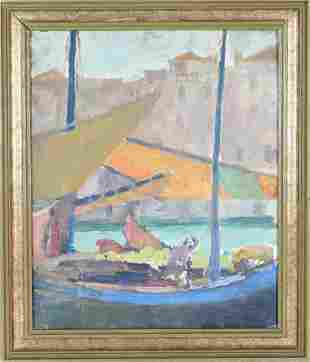 French Sailboats, Oil on Canva Board