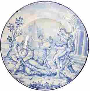 Large Blue and White Porcelain Charger