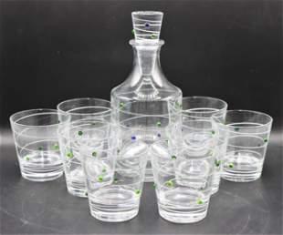 Salviati Italian Glass Decanter w (8) Glasses