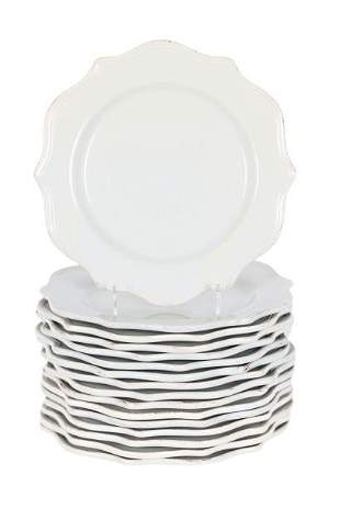 Set of (16) Porcelain Gray Charger Plates