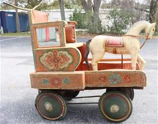 Antique Rajasthan Indian Push Cart w Horse