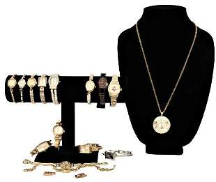 (14) Ladies Watches and (1) Clock Necklace