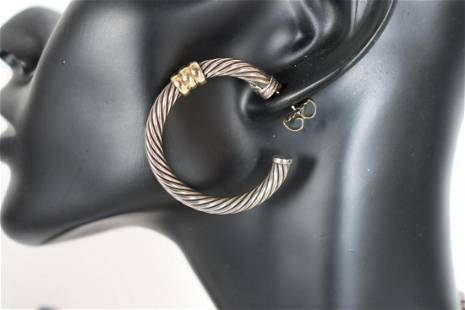 David Yurman Gold & Sterling Hoop Earrings
