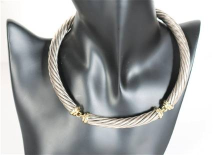 David Yurman 14k Gold & Sterling Necklace