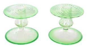 Pair Steuben Green Candlesticks