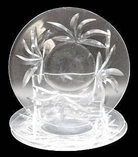 (3) Steuben Leaves Art Glass Plates