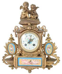 French Gilt Figural Mantle Clock w Sevres Plaques