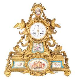 Important French 19th C Gilt Bronze Mantle Clock