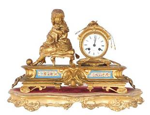 Antique French Lister & Sons Gilt Mantel Clock