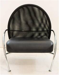 Calligaris Black Leatherette Wide Lounge Chair