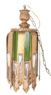 Moroccan Pieced Brass & Stained Glass Chandelier