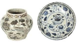 Pair of Chinese Blue & White Stoneware Pcs