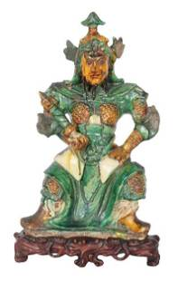 Qing Dynasty Chinese Spinach & Egg Guardian w Base