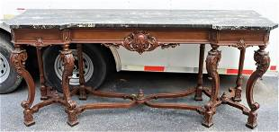 Antique Carved Hardwood & Marble Top Buffet Table