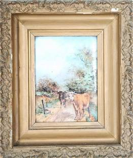 Cows Painted on Porcelain, Framed