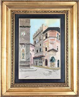 Italian Pietra Dura Plaque, Inlaid City Scene