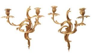 Pair of Louis XV Style Gilt Bronze Sconces