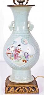 Chinese Celadon Figural Scene Vase Mounted as Lamp
