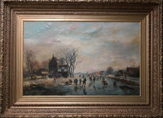 Monumental Dutch painting  Willem Vester Skating Scene