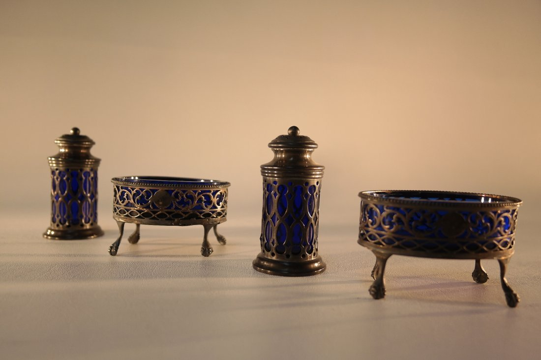 4 Sterling Serving Pieces with cobalt insets (as is)