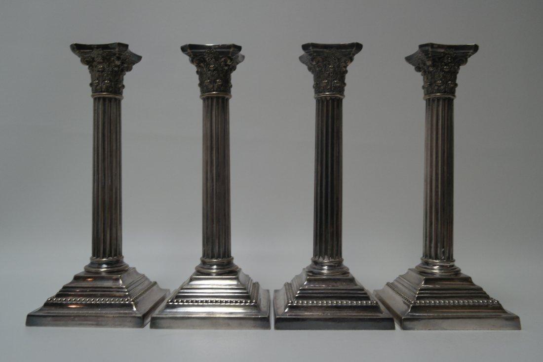 (4) Gorham Silver Plated Corinthian Column Candlesticks