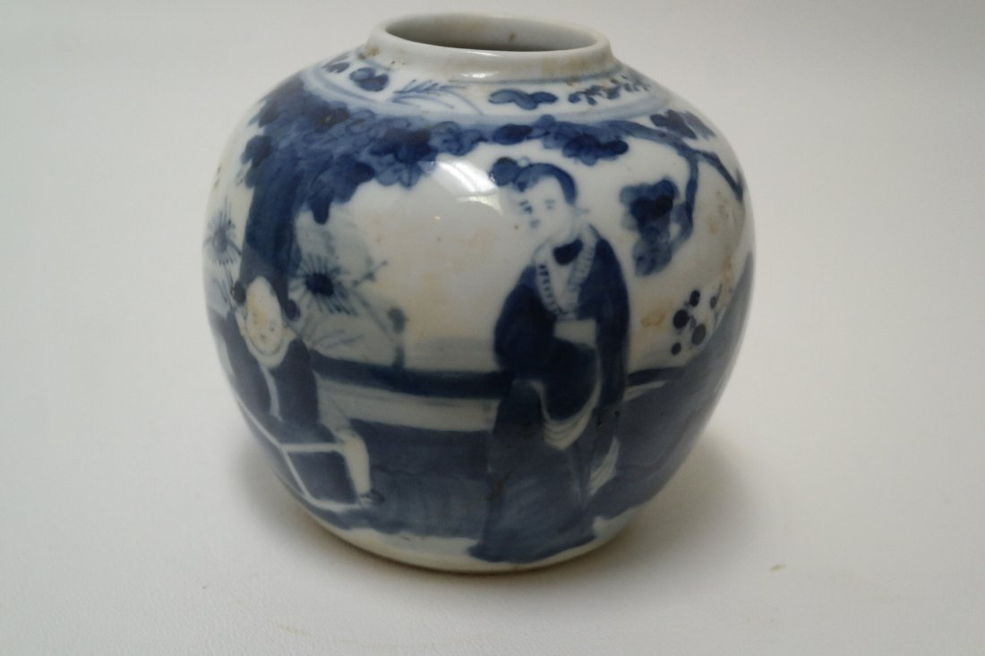 Early 19th century Chinese Blue/White Jar with figures