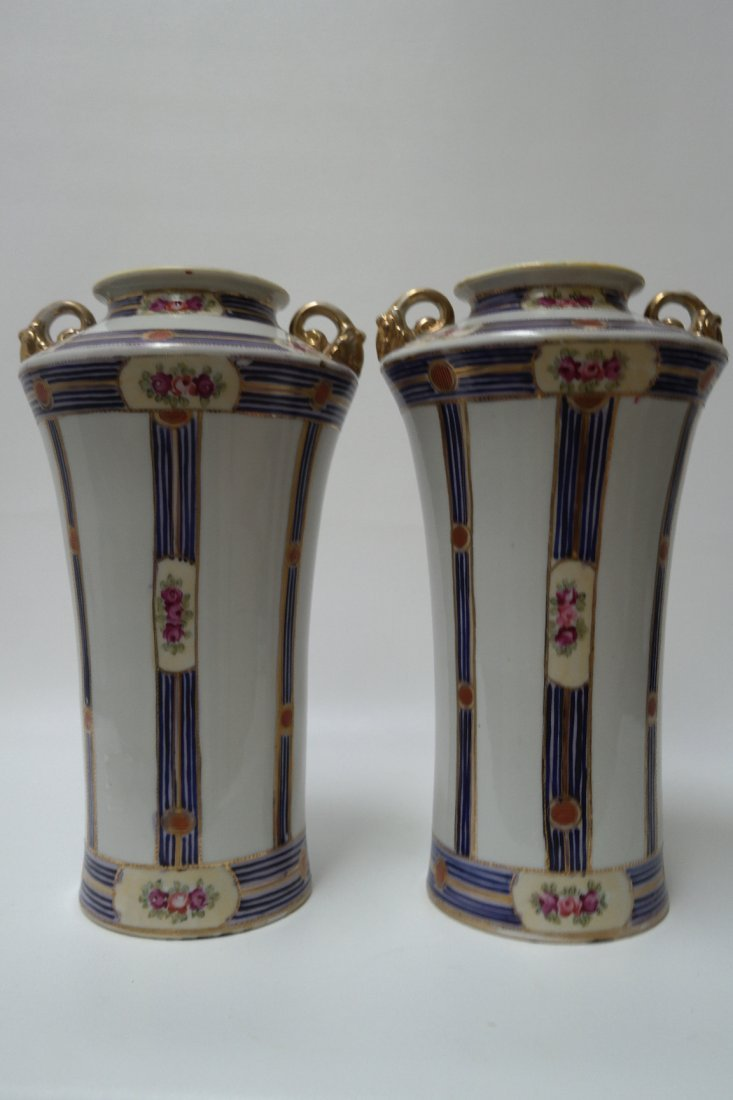 Pair of Large Imperial Hand Painted Nippon Vases
