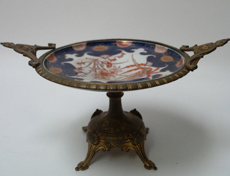 19th century French Gilt Tazza w/ Japanese Porcelain