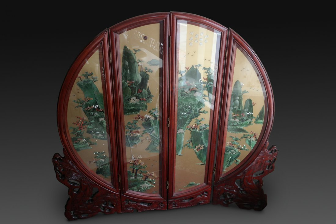 Monumental Chinese Spinach Jade 4 panel Screen