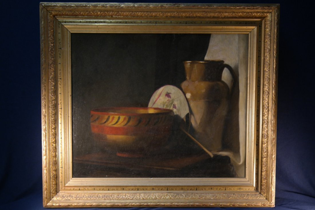 19th C. Unsigned Santa Fe School Oil/Canvas Still Life