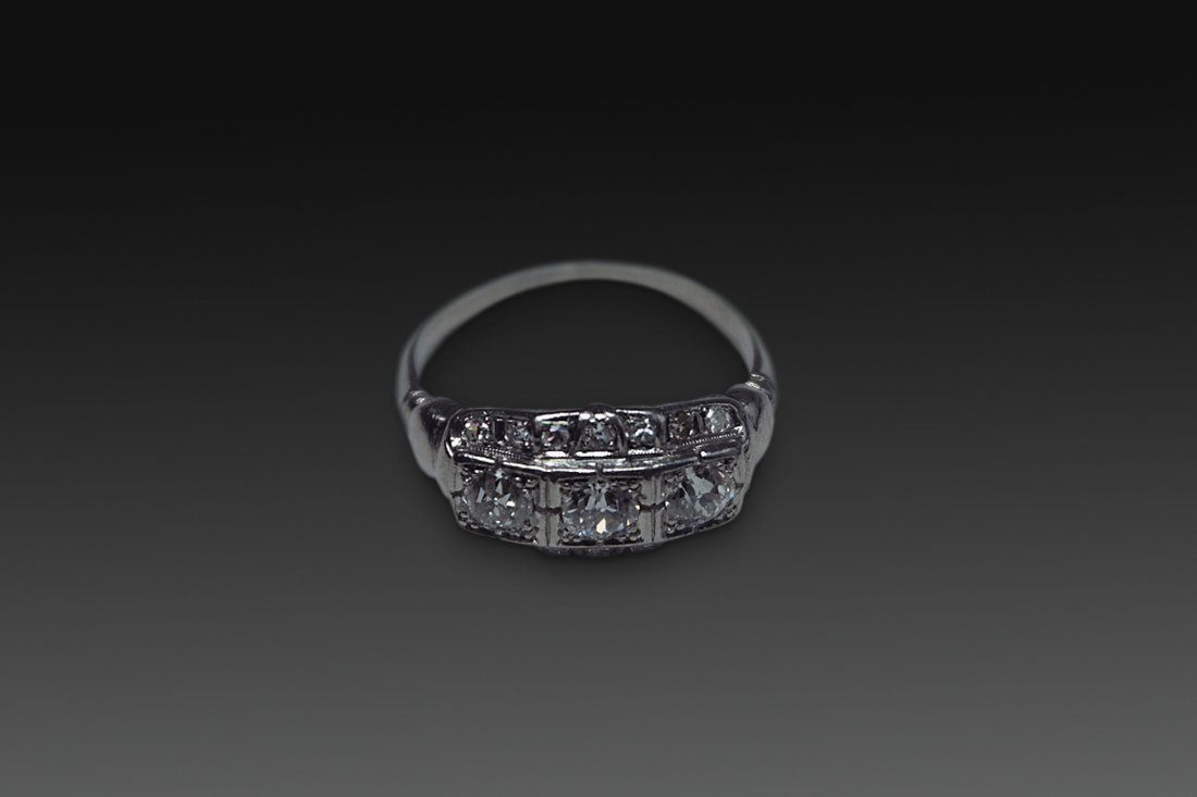 Diamond 3 stone Cigar Band Platinum Ring