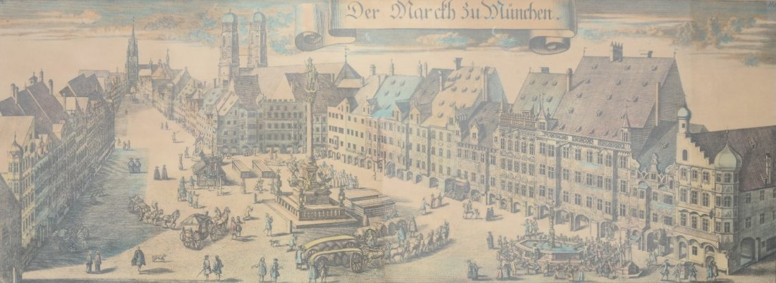 "19th Century German ""Marketplace in Munich"" Engraving"