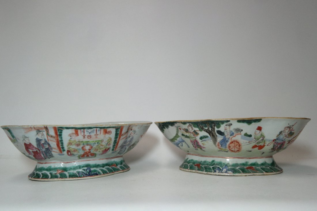 Pair of Rare 19th C. Chinese Octagonal footed Dishes