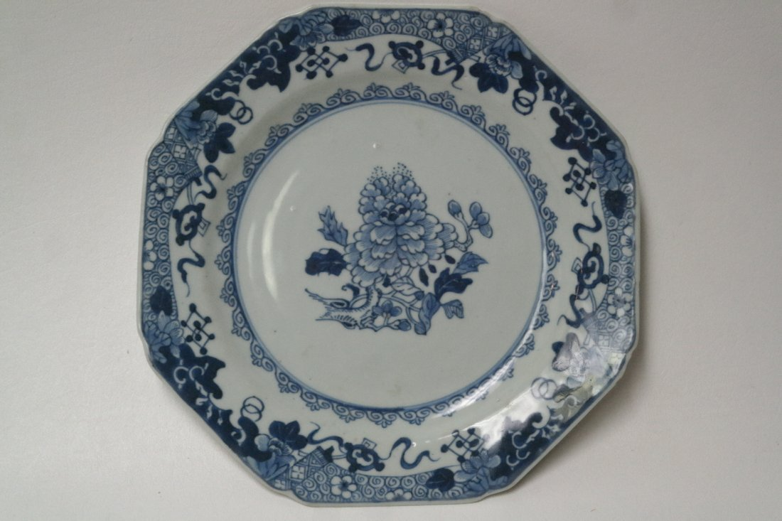 18th century Chinese  octagonal blue/white dish