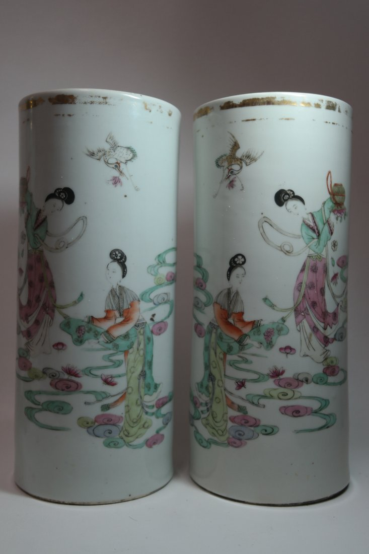 Pair of 19th century Chinese Famille Rose Vases