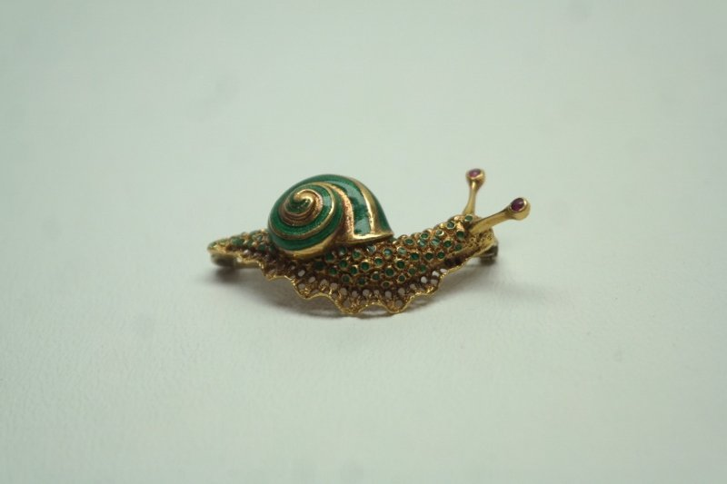 Antique French 18k Enameled Snail Pin