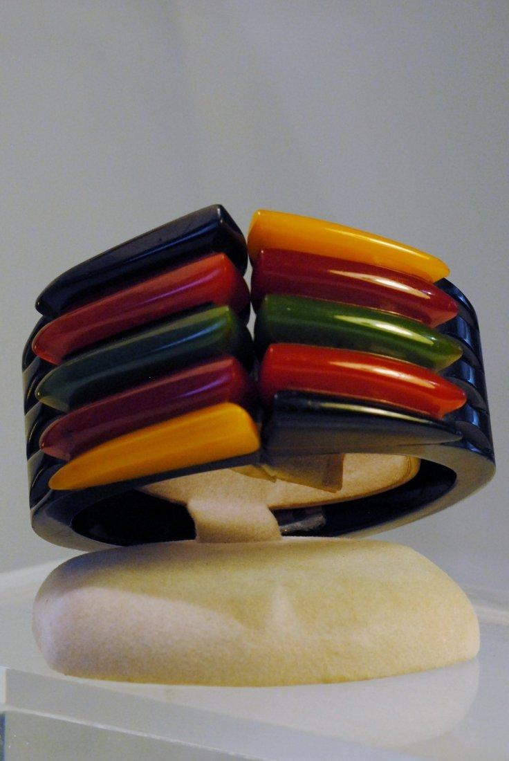 Black/red/yellow/amber/green Bakelite Snap Bracelet