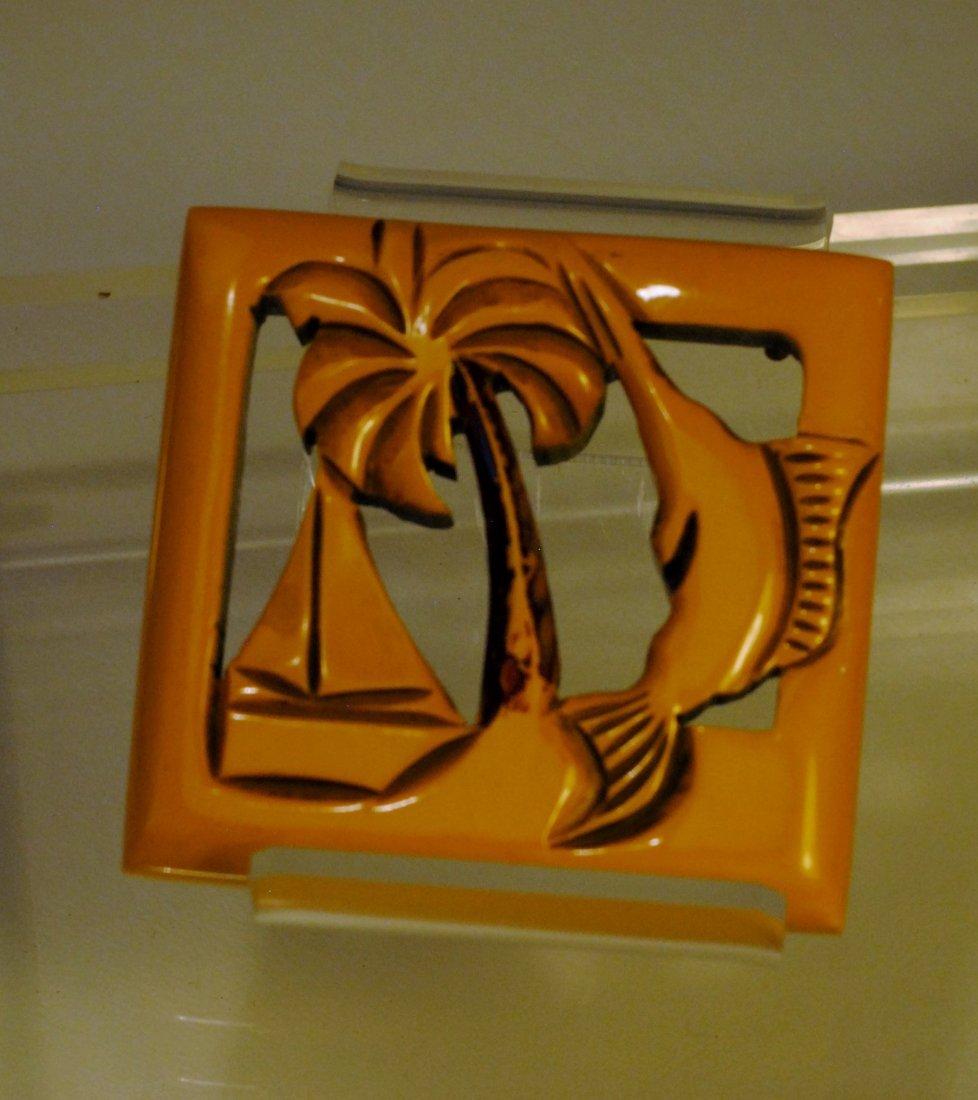 Yellow Bakelite Pin w/ marlin, sailboat & palm tree