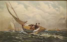 AntiqueAmerican School 19th C Marine w Cat Boats Race