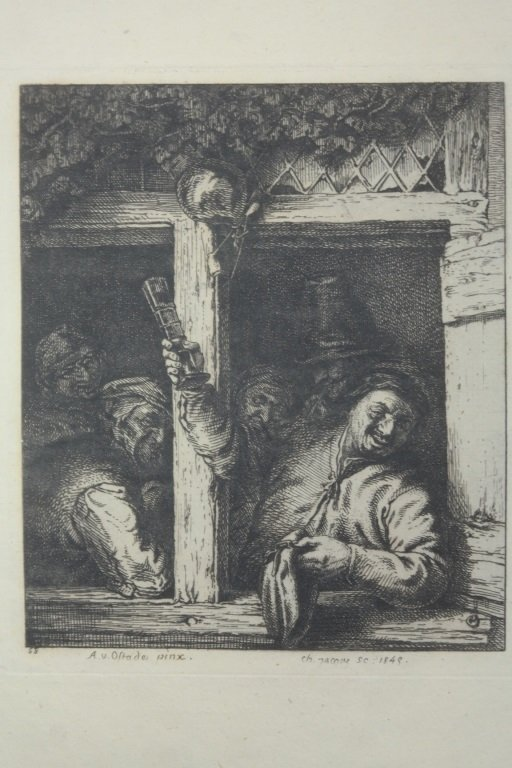 "Dutch 17th Century Etching "" The Drinker"""