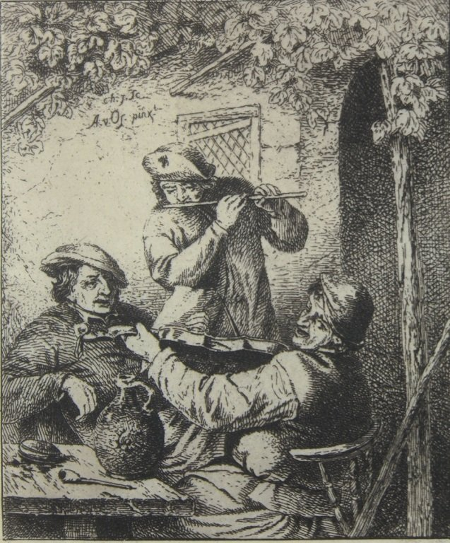 "Dutch 17th Century Etching "" The Musicians"""