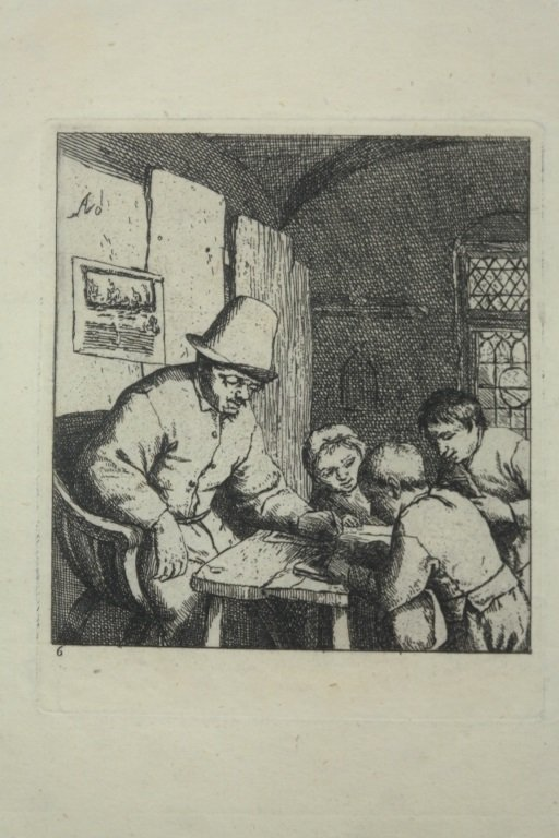 "Dutch 17th Century Etching "" The School Master"""