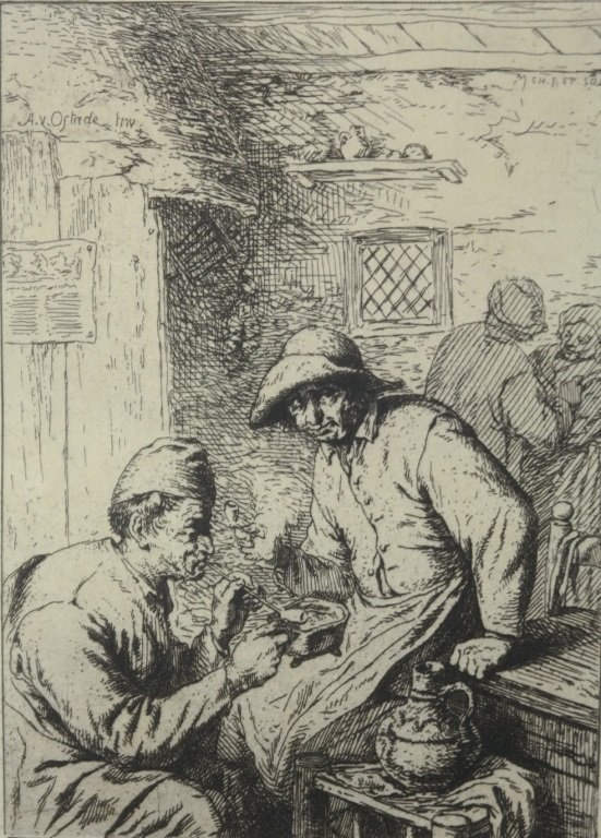 "Dutch 17th Century Etching "" The Smokers"""