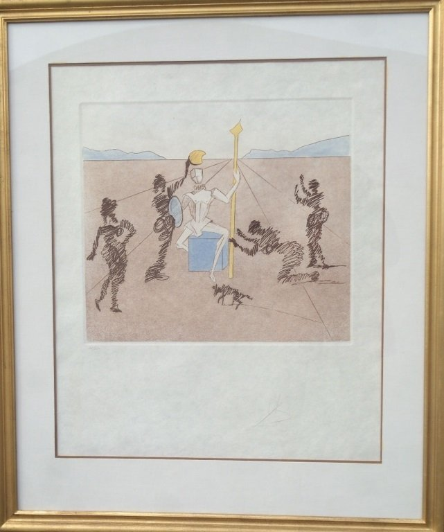 "Dali etching  "" The Golden Helmet of Madrino"""