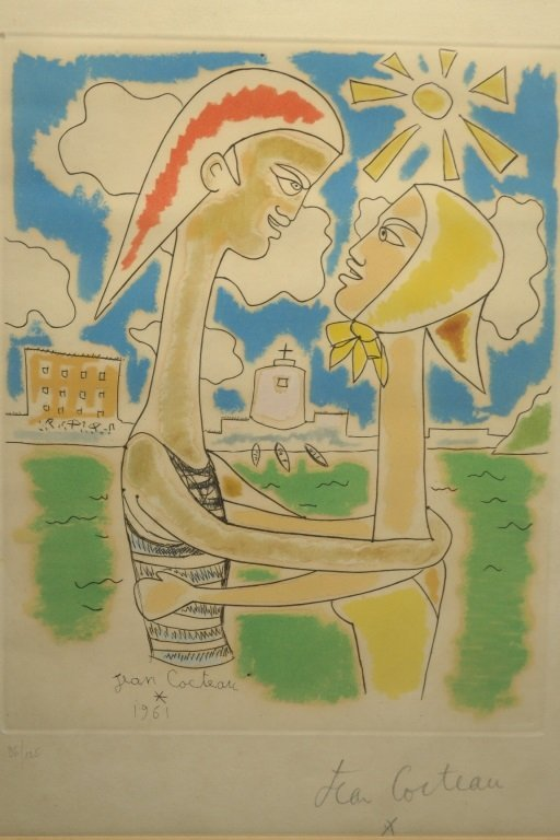 20th Century French Colored Lithograph